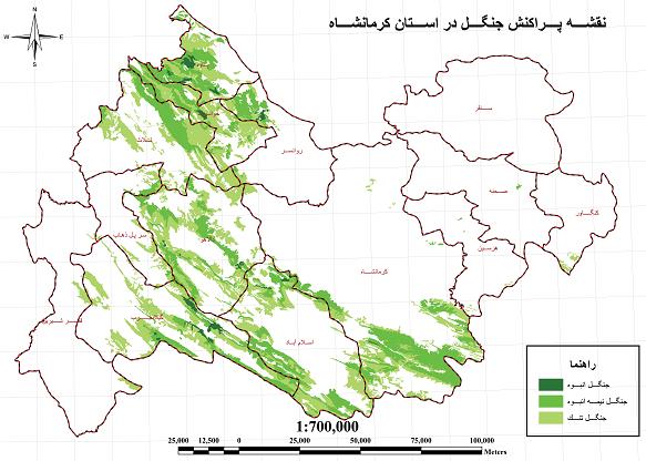 نقشه ی پراکنش جنگل در استان کرمانشاه