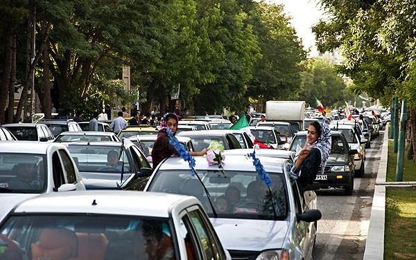 جشن پیروزی تیم ملی فوتبال در شهر کرمانشاه